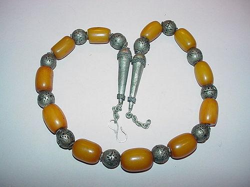 Bedouin Amber Bakelite + Silver Beads