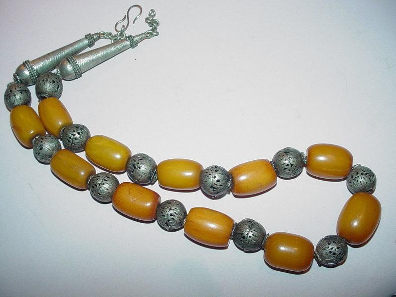 Bedouin Amber Bakelite + Silver Bead Necklace
