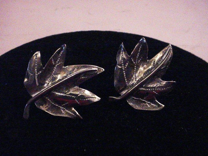 30's Hand Wrought Sterling Maple Leaf Earrings