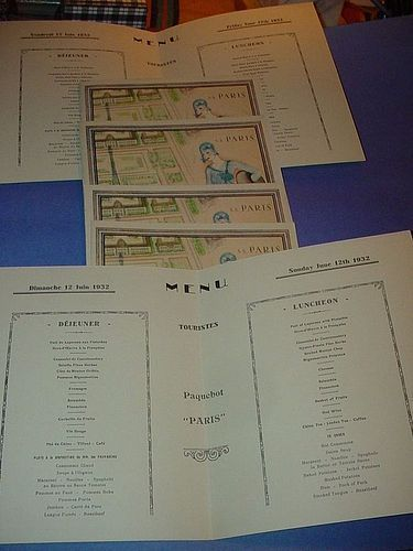 Art Deco Menus for 5 Consecutive Days SS Paris Sun-Fri 6/12-17/1932