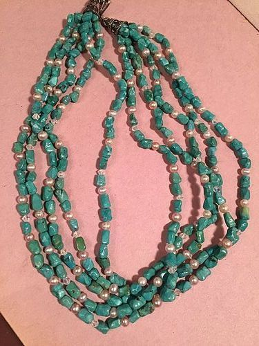Turquoise Pearl + Crystal  Necklace