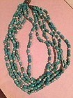 Five Strand Turquoise Pearl + Crystal Necklace