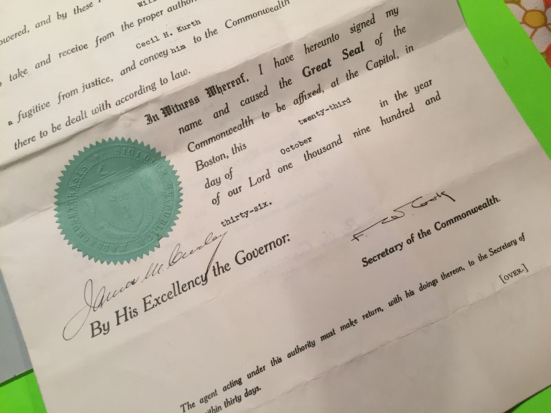 Original Extradition Writ Signed by Mayor James Curley Boston 10/36