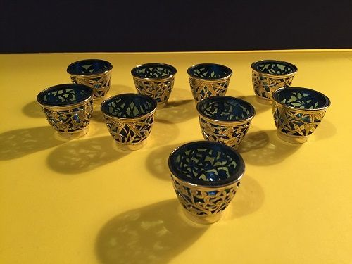 (9) Etched SP Cobalt Blue Glass Liqueur Cups