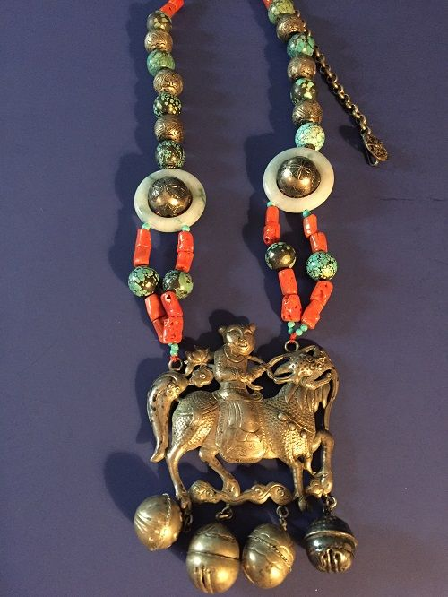 Antique Chinese Qilin Silver Gemstone Necklace