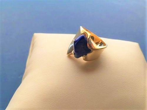 Modernist 14k Gold Lapis Lazuli  Ring