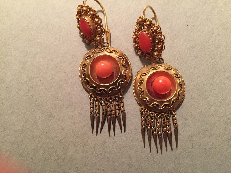 15K Etruscan Revival Day Night Coral Earrings