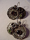 Arts & Crafts Style 950 Sterling Gem Set Earrings