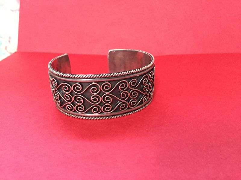 Early Mexican Sterling Niello Braided Cuff