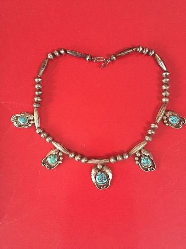 Old Southwestern Silver Turquoise  Necklace