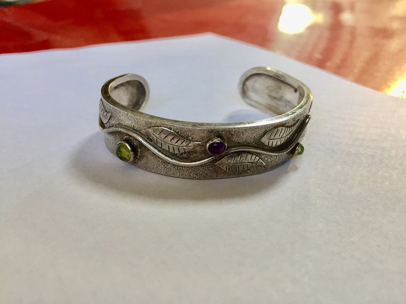 Arts & Cafts Style Sterling Stone Bangle