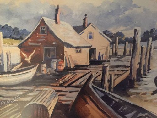 Early 20thC Harbor Marine Scene ~ J.F Pearsall