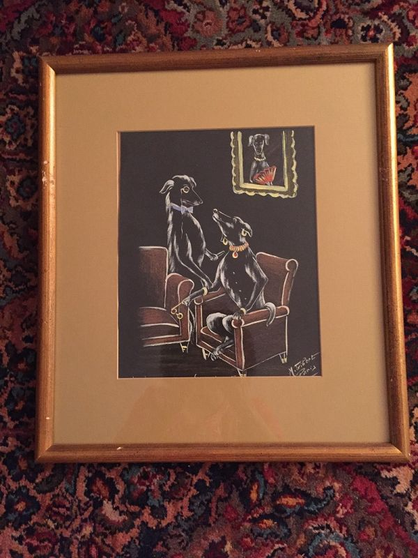 Whimsical Dog Pastel ~  M. Gibert~ Paris