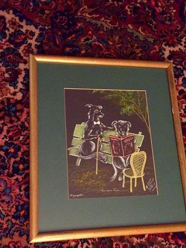 """""""Le Vieux Beau"""" Dog Pastel ~ M. Gibert~ Paris"""