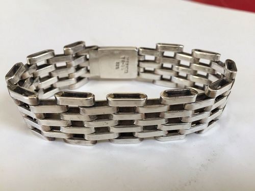 Heavy Mexican Sterling Gate Bracelet ~  Unisex