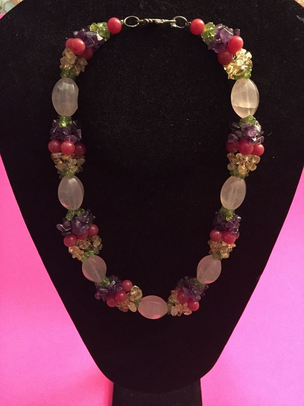 Tutti Fruitti Gem Set Rose Quartz Necklace