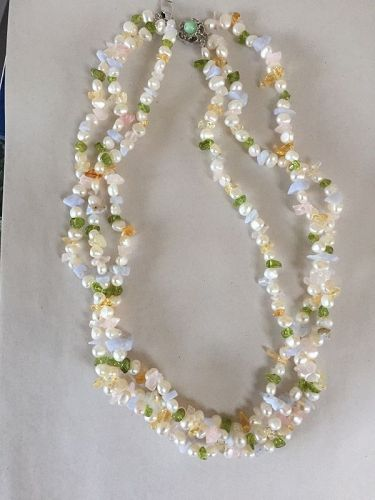 Three Strand Tumbled Gem + Pearl Necklace