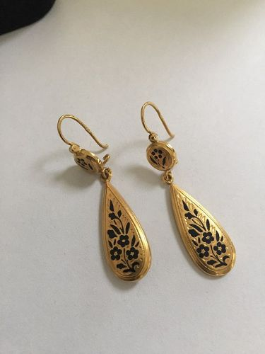 15k Victorian Style Taille d'Epargne Pendant Earrings
