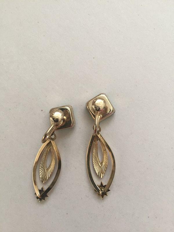 14kGF Loran Sim Rhinestone + Green Stone Pendant Earrings