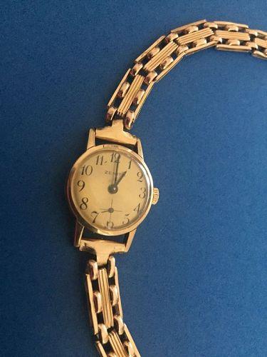 9k Zenith Ladies Gold Watch w/15k Gate Bracelet 20 GR
