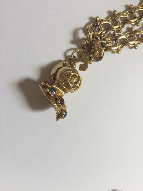 14K Gold Charm Bracelet w/14k Knight's Helmet
