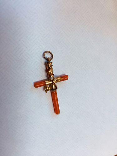 14k Victorian Coral Pearl Cross