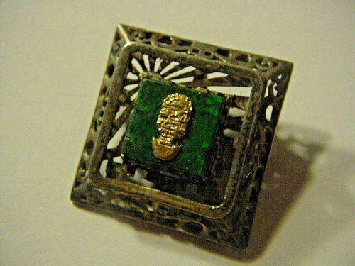 Ornate Peruvian 18k + Sterling Malachite TUMI Pendant