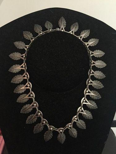 Jens Tage Hansen Sterling Leaf Necklace~ Denmark