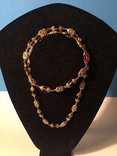 Ornate Swarovski  Pink Crystal Necklace