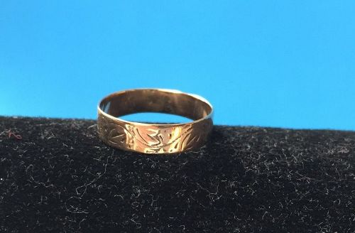 10kt Engraved Victorian Child's Band Sz 3.25