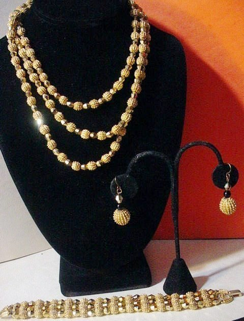 Crown Trifari Gold Bead Set ~ Book Piece