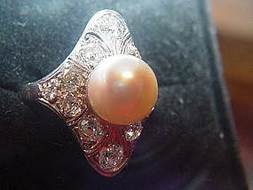 Edwardian Platinum Diamond + Cultured Pearl Ring