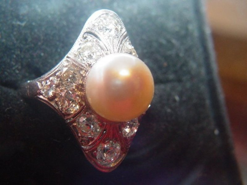 Edwardian Platinum Diamond + South Sea Pearl Ring