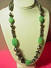Art Deco Sterling & Green Agate Choker