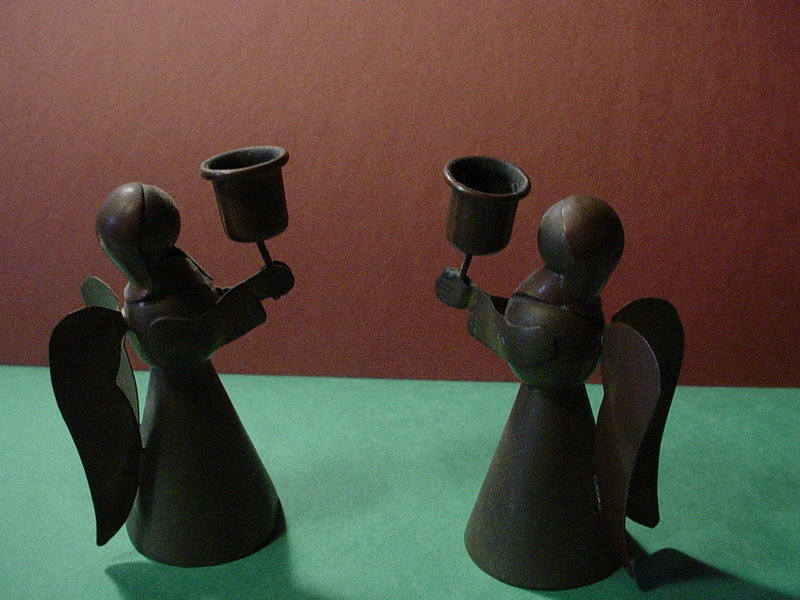 Mexican Copper Angel  Candlesticks