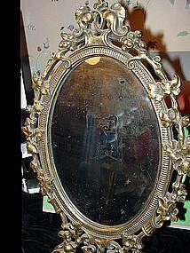 Art Nouveau  Brass Mirror