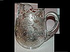 A Silver Deposit Glass Pitcher w/ Flowers