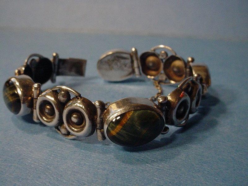 Signed TAXCO Mexican Sterling Tiger + Hawk Eye Bracelet