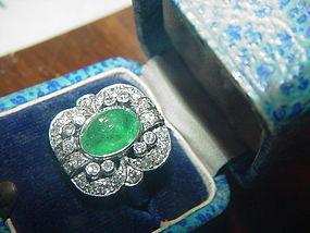 18k WG Art Deco  Diamond & Emerald Ring