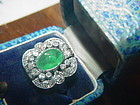 18k WG Art Deco  Diamond & Emerald Ring
