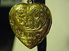 15k Etched Puffy Heart Locket ~ 1906 ~4.4Gr