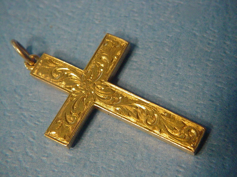 15k Engraved Victorian Cross~ William H Haseler 1900