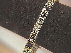14k YG Art Deco Diamond & Sapphire Bracelet ~11.4Gr