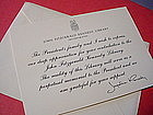 """Jacqueline Kennedy """"Thank You"""" Note~Kennedy Library"""