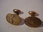 Chased Art Nouveau Button Cufflinks