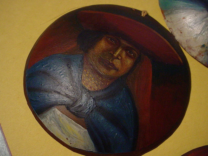 Six Old Bolivian Copper Folk Art Paintings
