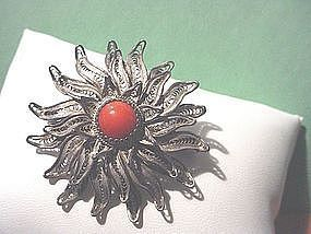 European Silver Filigree Coral Brooch