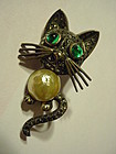 German Sterling Marcasite Mabe Cat Pin