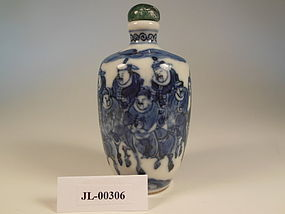 Qing Dynasty Blue and White under-glaze snuff bottle