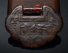 Antique Chinese Wood Toggle of Padlock